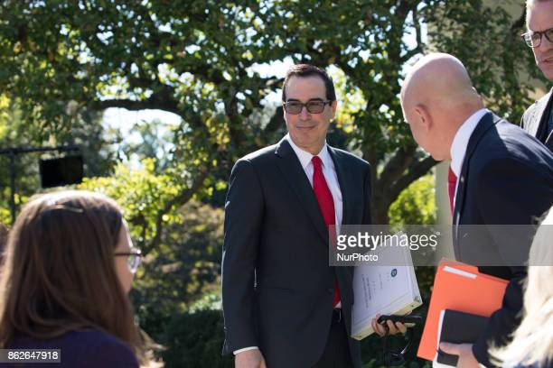 Steven Mnuchin US Secretary of the Treasury was in attendance for the joint press conference of US President Donald Trump and Prime Minister Alexis...