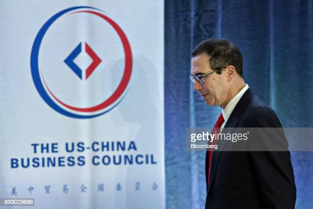 Steven Mnuchin US Treasury secretary arrives to a discussion at the USChina Business Council annual meeting in Washington DC US on Tuesday June 6...