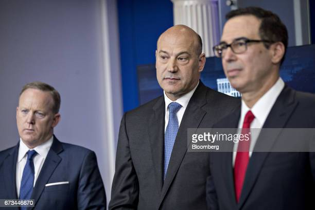 Steven Mnuchin US Treasury secretary from right Gary Cohn director of the US National Economic Council and Sean Spicer White House press secretary...