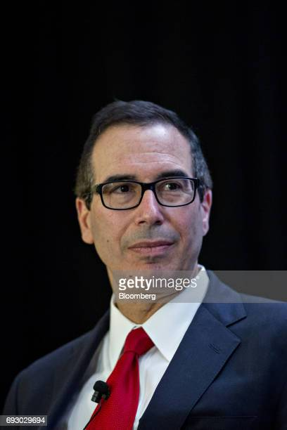 Steven Mnuchin US Treasury secretary listens during a discussion at the USChina Business Council annual meeting in Washington DC US on Tuesday June 6...