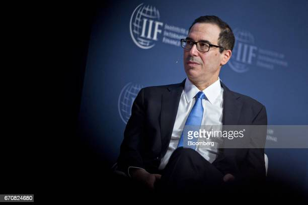 Steven Mnuchin US Treasury secretary listens to a question during a discussion at the Institute of International Finance policy summit in Washington...