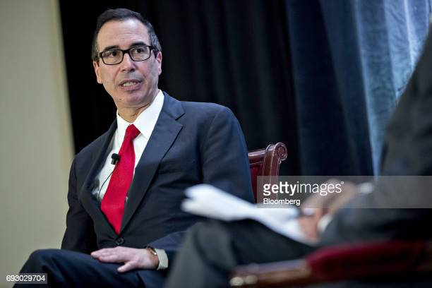 Steven Mnuchin US Treasury secretary speaks during a discussion at the USChina Business Council annual meeting in Washington DC US on Tuesday June 6...