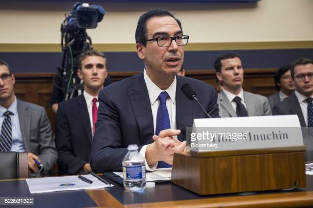 Steven Mnuchin US Treasury secretary speaks during a House Financial Services hearing on Capitol Hill in Washington DC US on Thursday July 27 2017...