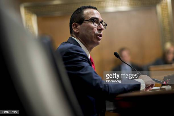 Steven Mnuchin US Treasury secretary speaks during a Senate Finance Committee hearing in Washington DC US on Thursday May 25 2017 Mnuchin yesterday...
