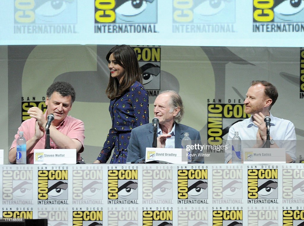 Steven Moffat, actress Jenna Coleman, David Bradley, and <a gi-track='captionPersonalityLinkClicked' href=/galleries/search?phrase=Mark+Gatiss&family=editorial&specificpeople=234407 ng-click='$event.stopPropagation()'>Mark Gatiss</a>, speak onstage at BBC America's 'Doctor Who' 50th Anniversary panel during Comic-Con International 2013 at San Diego Convention Center on July 21, 2013 in San Diego, California.