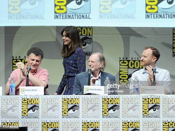 Steven Moffat actress Jenna Coleman David Bradley and Mark Gatiss speak onstage at BBC America's 'Doctor Who' 50th Anniversary panel during ComicCon...