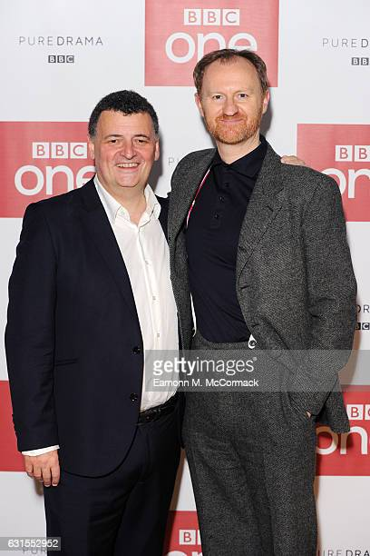 Steven Moffat and Mark Gatiss attend episode three preview screening of 'Sherlock' at BFI Southbank on January 12 2017 in London England