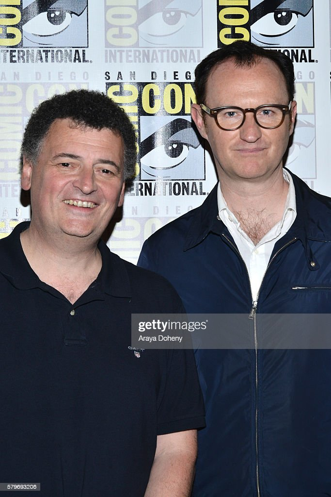 Steven Moffat and Mark Gatiss attend the 'Sherlock' press line at Comic-Con International 2016 - Day 4 on July 24, 2016 in San Diego, California.