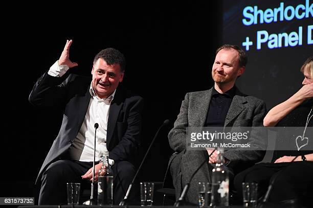 Steven Moffat and Mark Gatiss during QA for episode three preview screening of 'Sherlock' at BFI Southbank on January 12 2017 in London England