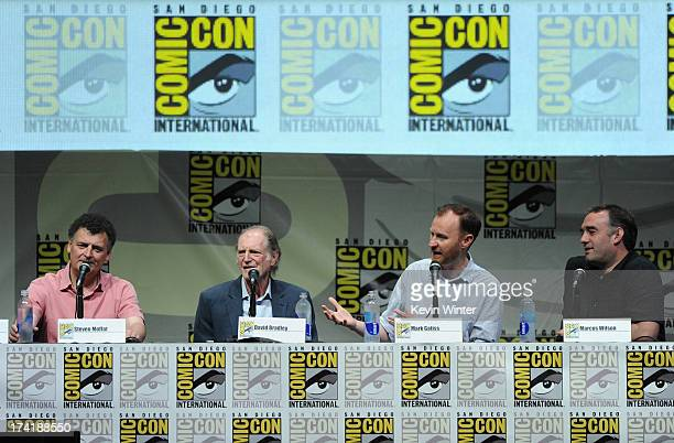 Steven Moffat David Bradley Mark Gatiss and Marcus Wilson speak onstage at BBC America's 'Doctor Who' 50th Anniversary panel during ComicCon...