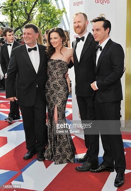 Steven Moffat Lara Pulver Mark Gatiss and Andrew Scott arrive at the Arqiva British Academy Television Awards 2012 at Royal Festival Hall on May 27...