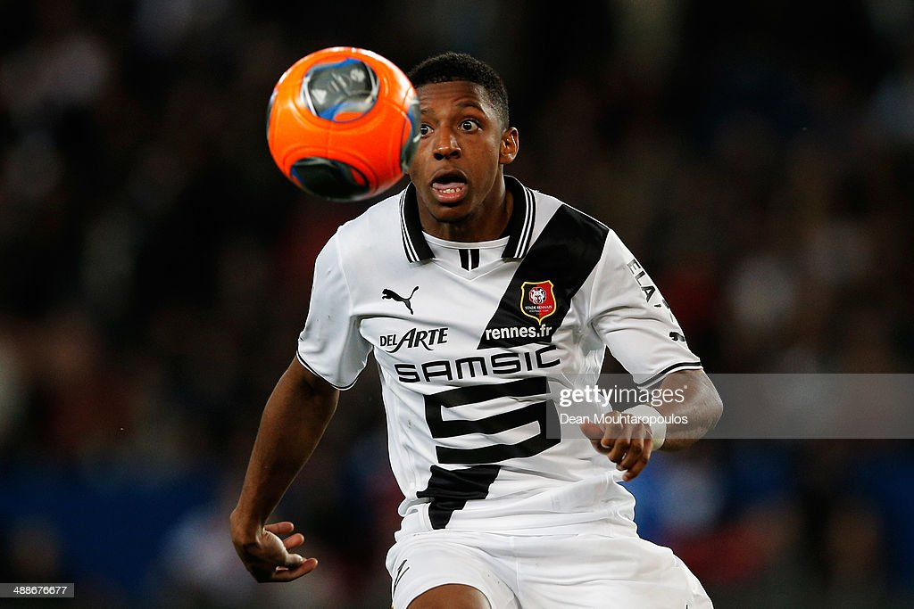 Steven Moreira of Rennais in action during the Ligue 1 match between Paris SaintGermain FC and Stade Rennais FC at Parc des Princes on May 7 2014 in...