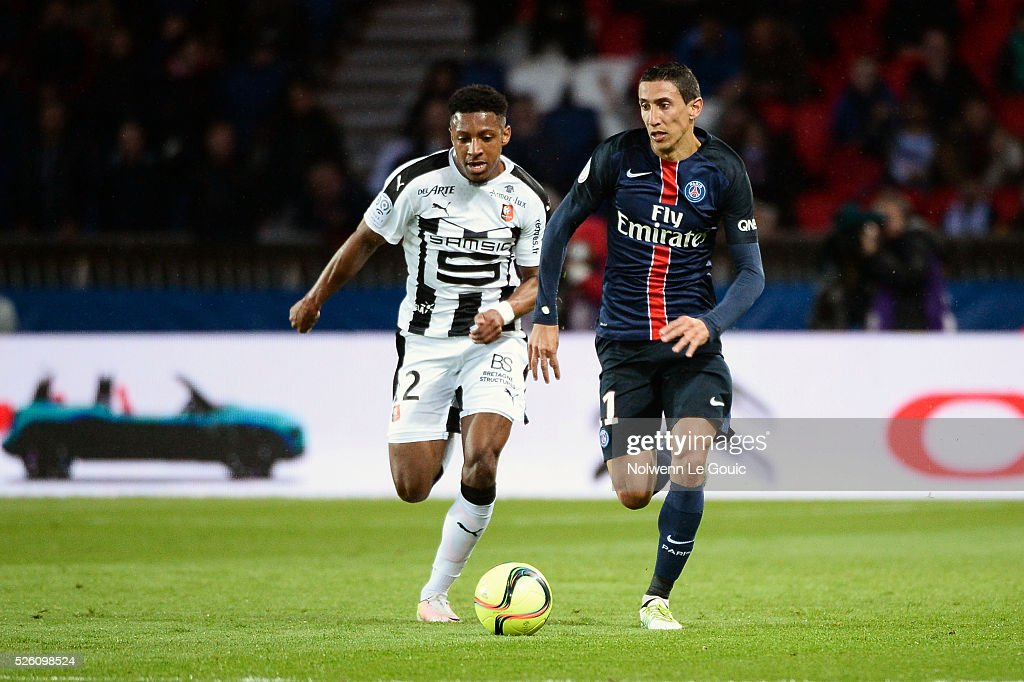 Steven MOREIRA of Rennes and Angel DI MARIA of PSG during the French Ligue 1 match between Paris Saint Germain PSG and Stade Rennais at Parc des Princes on April 29, 2016 in Paris, France.