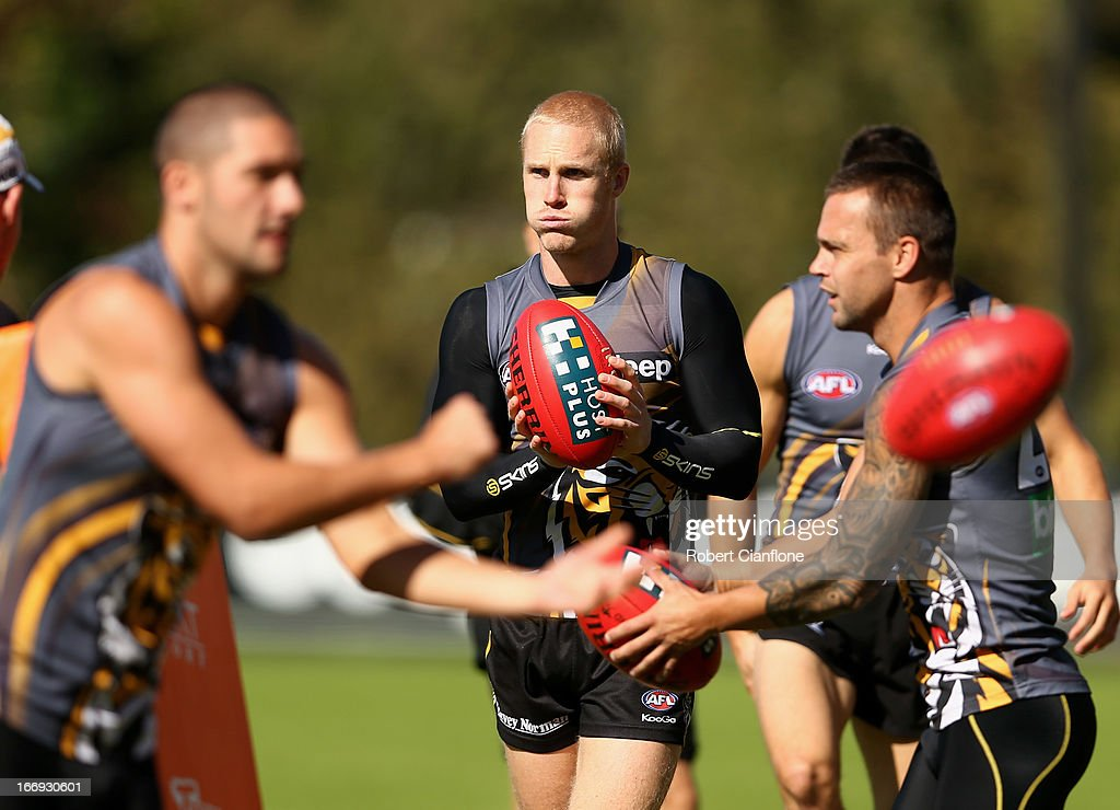 Steven Morris of the Tigers controls the ball during a Richmond Tigers AFL training session at ME Bank Centre on April 19, 2013 in Melbourne, Australia.