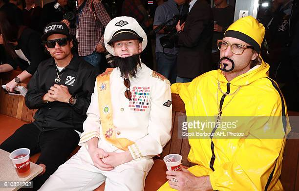 Steven Motlop as Ice Cube Josh Caddy as The Dictator and Shane Kersten as Ali G during the Geelong Cats AFL postseason celebrations at the Lord of...