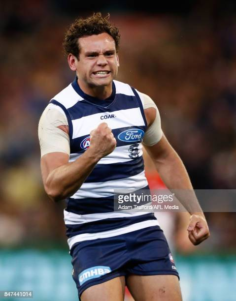 Steven Motlop of the Cats celebrates a goal during the 2017 AFL Second Semi Final match between the Geelong Cats and the Sydney Swans at the...