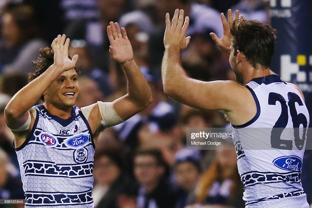 Steven Motlop of the Cats (L) celebrates a goal with Tom Hawkins during the round 10 AFL match between the Carlton Blues and the Geelong Cats at Etihad Stadium on May 29, 2016 in Melbourne, Australia.
