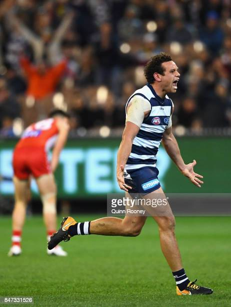 Steven Motlop of the Cats celebrates kicking a goal during the Second Semi Final AFL match between the Geelong Cats and the Sydney Swans at Melbourne...
