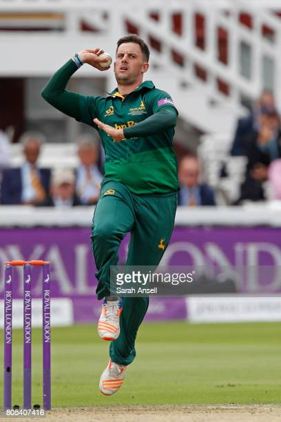 Steven Mullaney of Nottinghamshire bowls during the match between Nottinghamshire and Surrey at Lord's Cricket Ground on July 1 2017 in London England