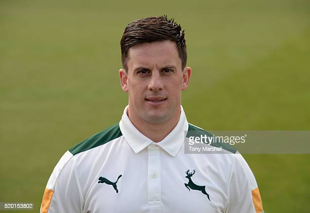 Steven Mullaney of Nottinghamshire CCC poses for a photograph during the Nottinghamshire CCC Photocall at Trent Bridge on April 8 2016 in Nottingham...