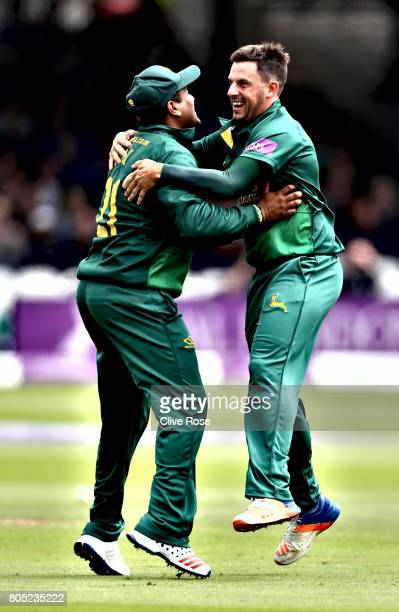 Steven Mullaney of Nottinghamshire celebrates the wicket of Kumar Sangakkara of Surrey during the Royal London OneDay Cup Final betwen...