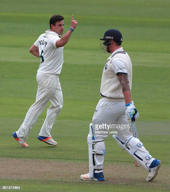 Steven Mullaney of Nottinghamshire celebrates the wicket of Matt Coles of Kent after he was caught by Riki Wessells during the Specsavers County...