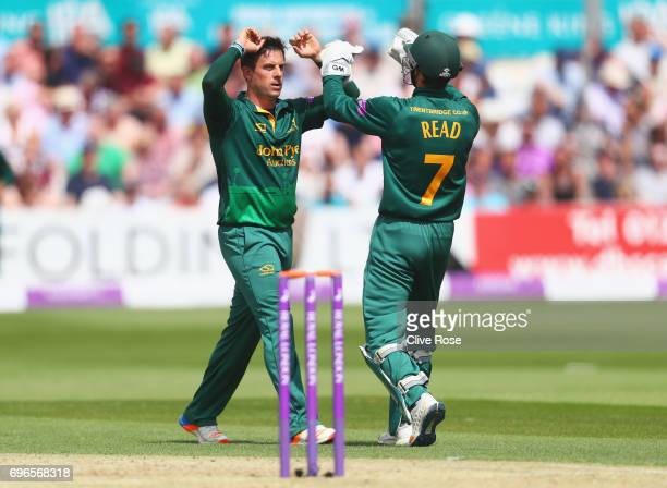 Steven Mullaney of Nottinghamshire celebrates the wicket of Varun Chopra of Essex caught by Chris Read during the Royal London OneDay Cup Semi Final...