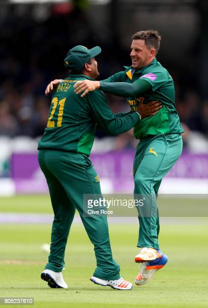 Steven Mullaney of Nottinghamshire celebrates with Samit Patel after taking the wicket of Kumar Sangakkara of Surrey during the Royal London OneDay...