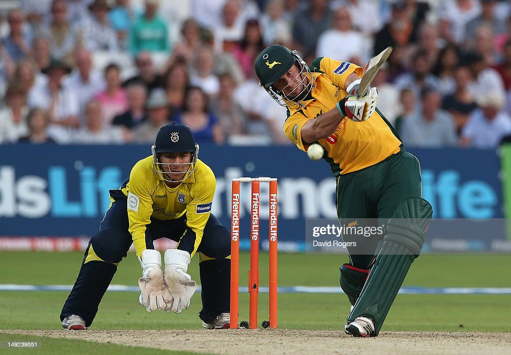 Steven Mullaney of Nottinghamshire hits a four during the Friends Life T20 match between Nottinghamshire and Hampshire at Trent Bridge on July 25, 2012 in Nottingham, England.
