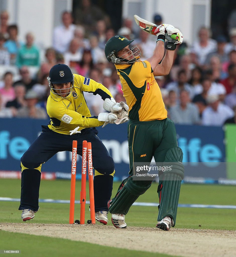 Steven Mullaney of Nottinghamshire is bowled by Glenn Maxwell during the Friends Life T20 match between Nottinghamshire and Hampshire at Trent Bridge on July 25, 2012 in Nottingham, England.