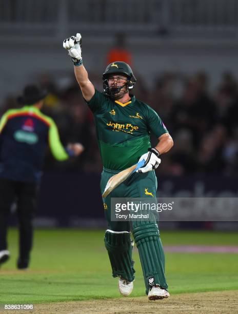 Steven Mullaney of Nottinghamshire Outlaws celebrates scoring the winning runs to win the NatWest T20 Blast Quarter Final match between...