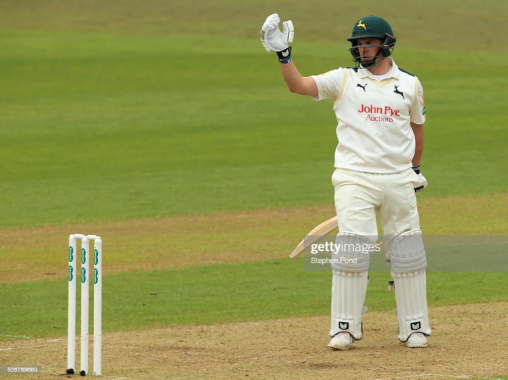 Steven Mullaney of Nottinghamshire reacts after being caught during day one of the Specsavers County Championship Division One match between Nottinghamshire and Yorkshire at Trent Bridge on May 1, 2016 in Nottingham, England.
