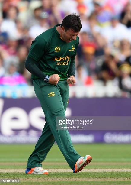 Steven Mullaney of Notts celebrates after taking the wicket of James Vince of Hampshire during the NatWest T20 Blast SemiFinal match between...