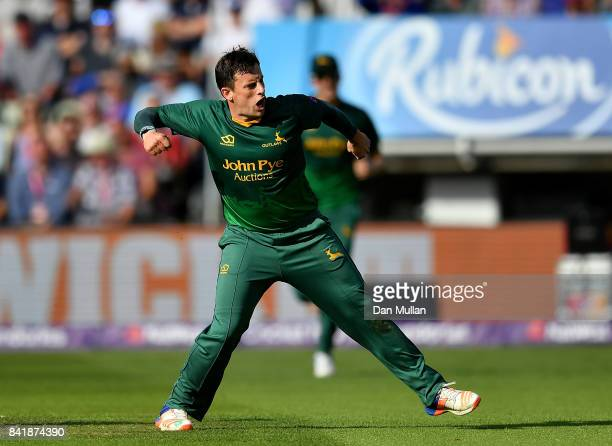 Steven Mullaney of Notts celebrates dismissing George Bailey of Hampshire during the NatWest T20 Blast SemiFinal match between Hampshire and Notts...
