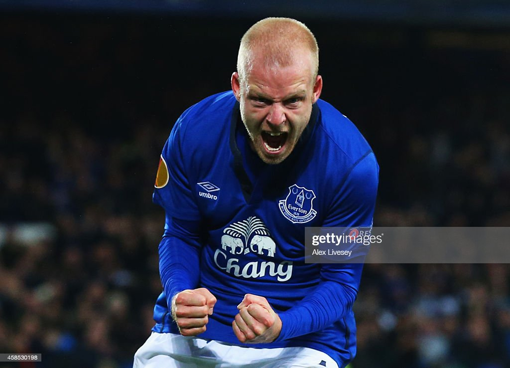 Steven Naismith of Everton celebrates as he scores their third goal during the UEFA Europa League Group H match between Everton FC and LOSC Lille at Goodison Park on November 6, 2014 in Liverpool, United Kingdom.