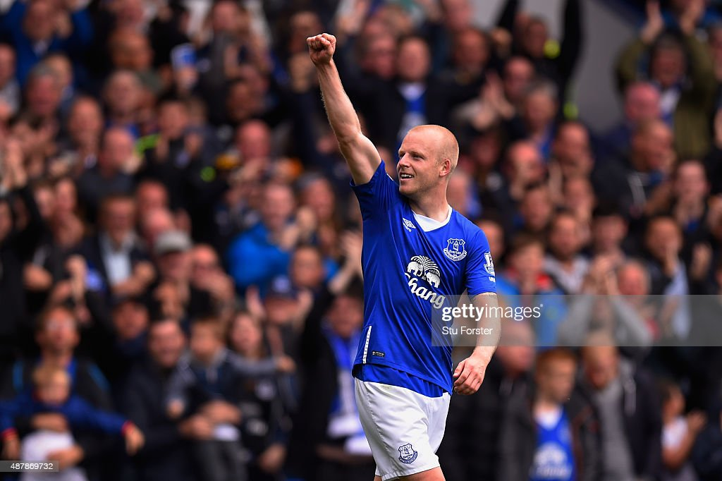 Steven Naismith of Everton celebrates scoring his hat trick goal during the Barclays Premier League match between Everton and Chelsea at Goodison Park on September 12, 2015 in Liverpool, United Kingdom.