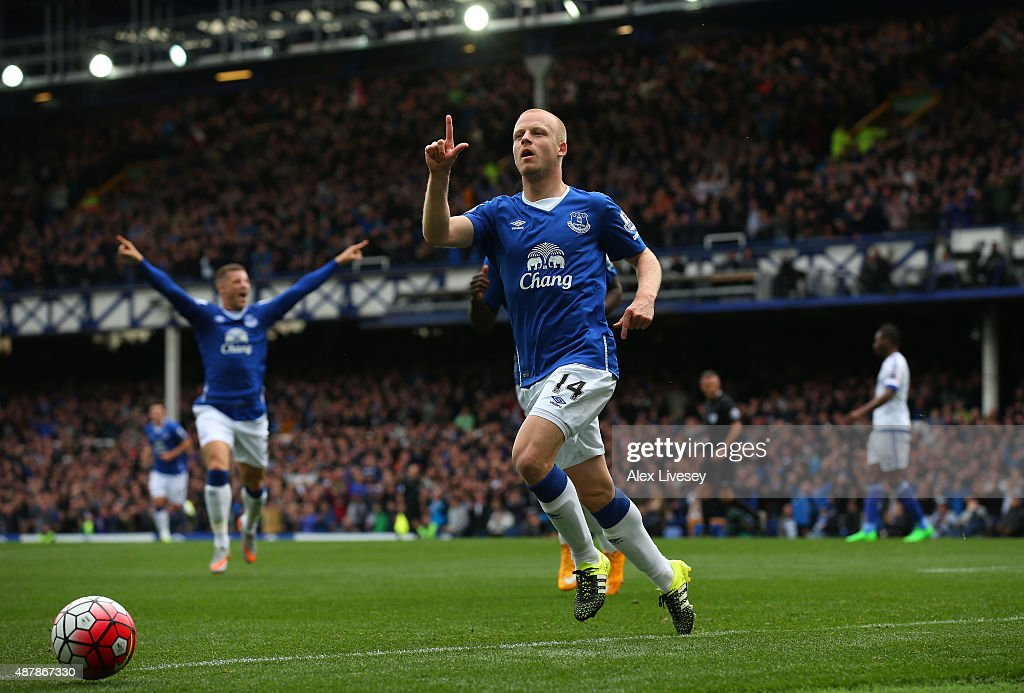 Steven Naismith of Everton celebrates scoring the opening goal during the Barclays Premier League match between Everton and Chelsea at Goodison Park on September 12, 2015 in Liverpool, United Kingdom.