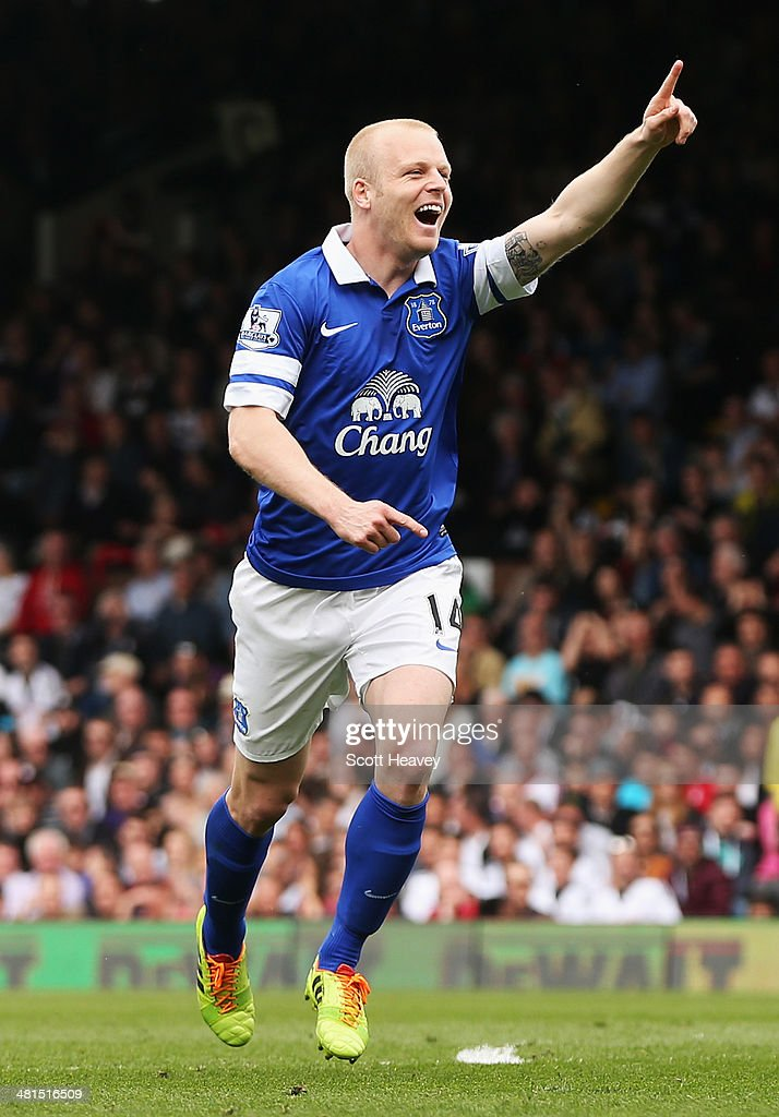 Steven Naismith of Everton celebrates the opening goal, an own goal by David Stockdale of Fulham during the Barclays Premier League match between Fulham and Everton at Craven Cottage on March 30, 2014 in London, England.