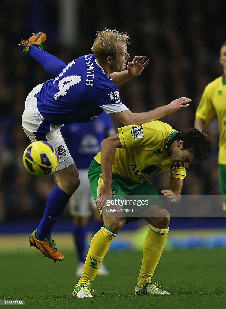<a gi-track='captionPersonalityLinkClicked' href=/galleries/search?phrase=Steven+Naismith&family=editorial&specificpeople=4130861 ng-click='$event.stopPropagation()'>Steven Naismith</a> of Everton clashes with Javier Garrido of Norwich City during the Barclays Premier League match between Everton and Norwich City at Goodison Park on November 24, 2012 in Liverpool, England.