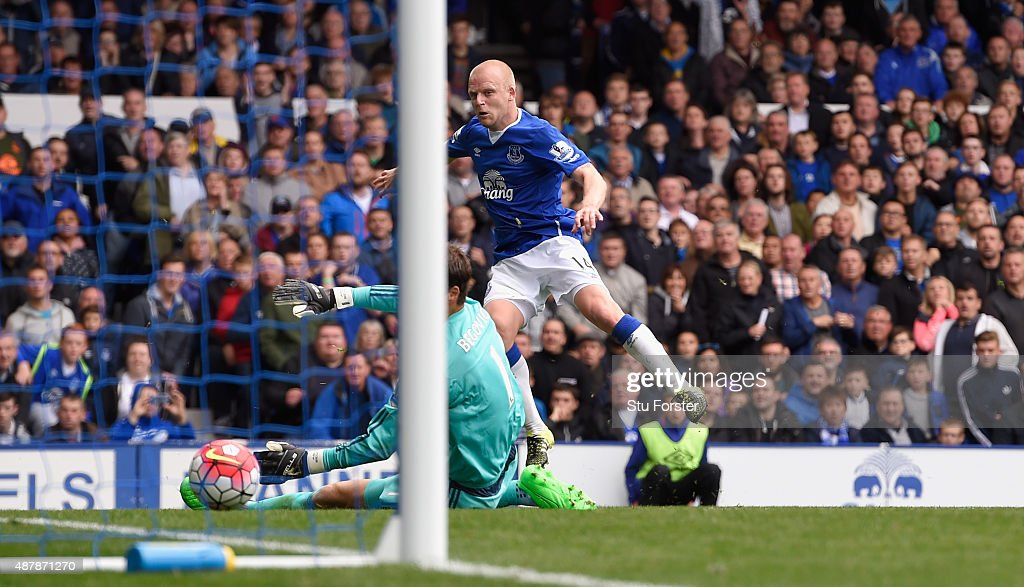 Steven Naismith of Everton scores his hat trick goal past goalkeeper Asmir Begovic of Chelsea during the Barclays Premier League match between Everton and Chelsea at Goodison Park on September 12, 2015 in Liverpool, United Kingdom.