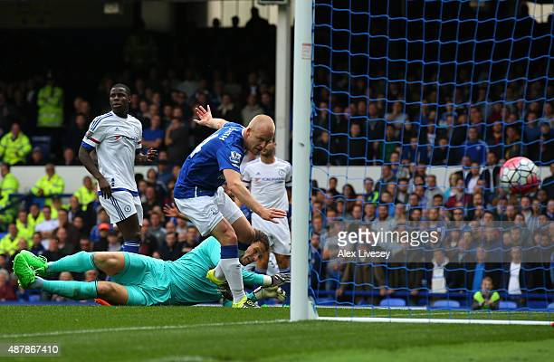 Steven Naismith of Everton scores his team's first goal during the Barclays Premier League match between Everton and Chelsea at Goodison Park on...