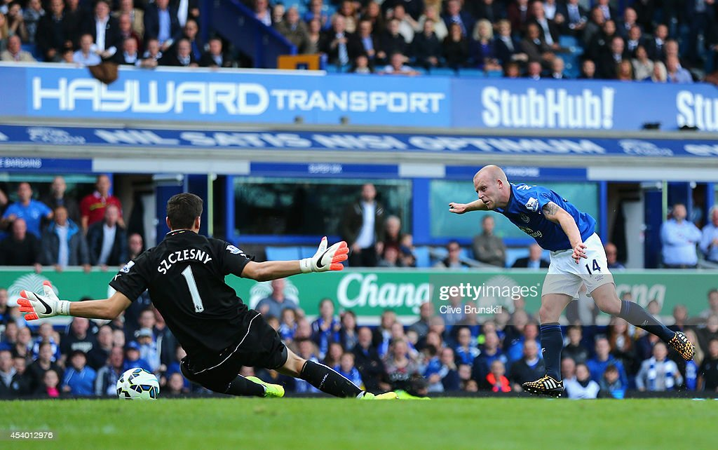 <a gi-track='captionPersonalityLinkClicked' href=/galleries/search?phrase=Steven+Naismith&family=editorial&specificpeople=4130861 ng-click='$event.stopPropagation()'>Steven Naismith</a> of Everton scores the second goal during the Barclays Premier League match between Everton and Arsenal at Goodison Park on August 23, 2014 in Liverpool, England.