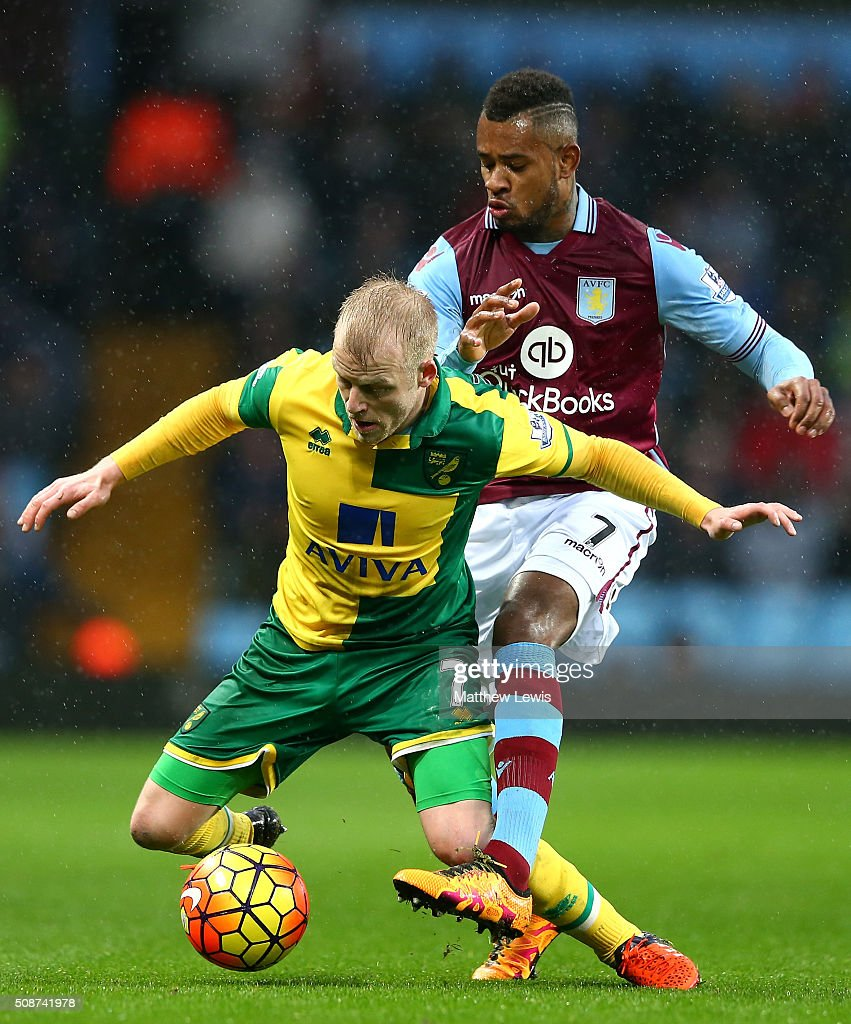<a gi-track='captionPersonalityLinkClicked' href=/galleries/search?phrase=Steven+Naismith&family=editorial&specificpeople=4130861 ng-click='$event.stopPropagation()'>Steven Naismith</a> of Norwich City is challenged by <a gi-track='captionPersonalityLinkClicked' href=/galleries/search?phrase=Leandro+Bacuna&family=editorial&specificpeople=7643005 ng-click='$event.stopPropagation()'>Leandro Bacuna</a> of Aston Villa during the Barclays Premier League match between Aston Villa and Norwich City at Villa Park on February 6, 2016 in Birmingham, England.