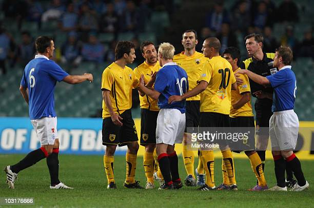 Steven Naismith of Rangers exchanges words with players from AEK Athens during the preseason friendly match between AEK Athens FC and Glasgow Rangers...