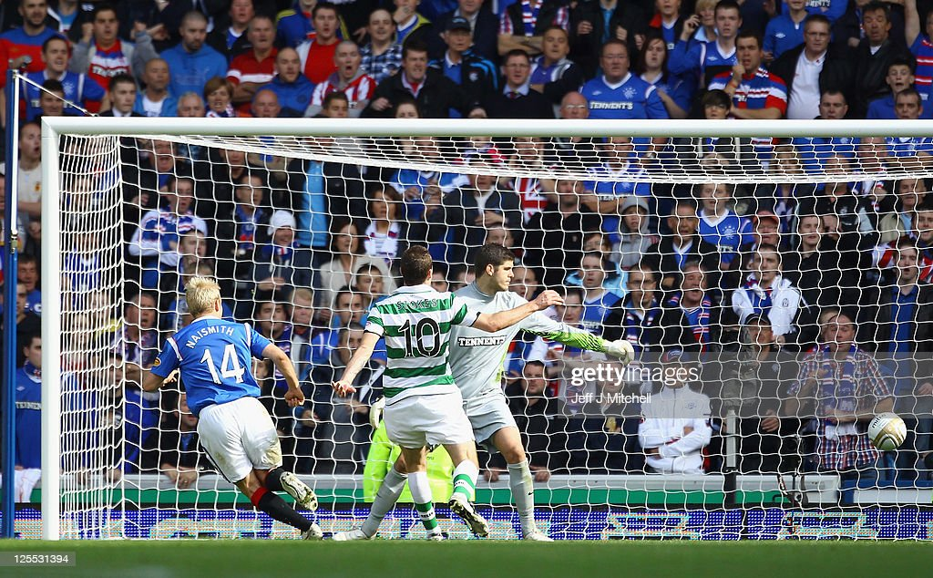 Steven Naismith of Rangers scores during the Clydesdale Bank Premier League match between Rangers and Celtic at Ibrox Stadium on September 18, 2011 in Glasgow, Scotland. .