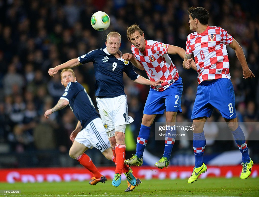 <a gi-track='captionPersonalityLinkClicked' href=/galleries/search?phrase=Steven+Naismith&family=editorial&specificpeople=4130861 ng-click='$event.stopPropagation()'>Steven Naismith</a> of Scotland battles with <a gi-track='captionPersonalityLinkClicked' href=/galleries/search?phrase=Ivan+Strinic&family=editorial&specificpeople=7171002 ng-click='$event.stopPropagation()'>Ivan Strinic</a> of Croatia and heads wide of the goal during the FIFA 2014 World Cup Qualifying Group A match between Scotland and Croatia at Hampden Park on October 15, 2013.