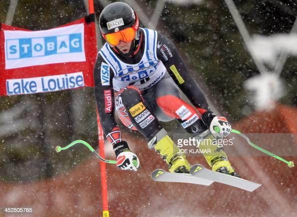 Steven Nyman of the US competes in the men's downhill practice during the alpine skiing FIS World Cup in Lake Louise Canada on November 29 2013 AFP...