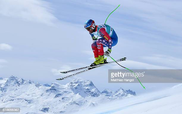 Steven Nyman of the US in action during the Audi FIS Alpine Skiing World Cup downhill training on March 15 2016 in St Moritz Switzerland