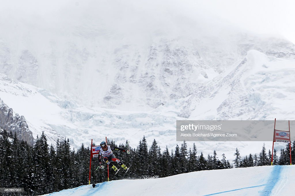 Steven Nyman of the USA competes during the Audi FIS Alpine Ski World Cup Men's Downhill Training on January 16 2014 in Wengen Switzerland