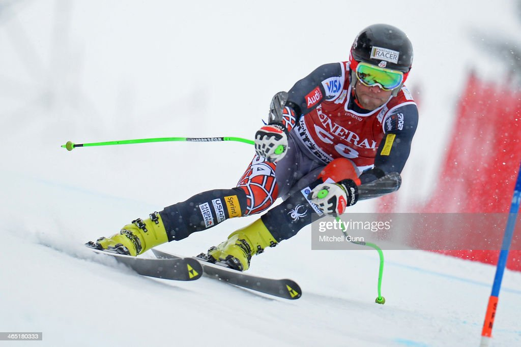 Steven Nyman of The USA competes in the Super G stage on the Hahnenkamm Course during the Audi FIS Alpine Ski World Cup Super Combined race on January 26, 2013 in Kitzbuhel, Austria.